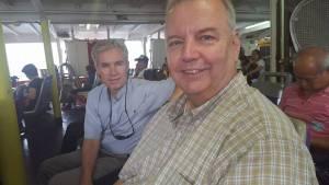 Fathers Tim Kilkelly and John McAuley on ferry to Cheung Chao