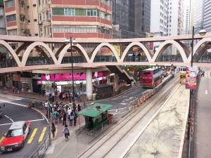 Overpass for pedestrians over very busy streets