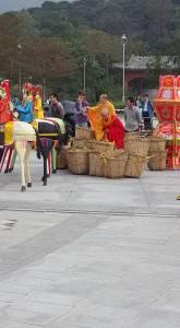 Buddhists priests preparing oblation