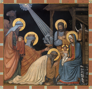 """The Epiphany is depicted in a mural titled """"Adoration of the Magi"""" in the Basilica of the Immaculate Conception at Conception Abbey in Conception, Mo. Painted by Benedictine monks in the late 1800s, the artwork is the first appearance of the German Beuronese style in a U.S. church. Christians celebrate the incarnation of the divine word -- the birth of Christ -- Dec. 25. The feast of the Epiphany is Jan. 2. (CNS photo courtesy Conception Abbey) (Nov. 8, 2004)"""