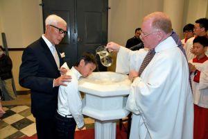 Easter 2016 - Baptizing Adam (Philip)