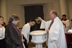 Easter 2016 - Baptizing Hiroka (Clare)