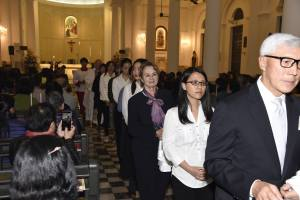 Easter 2016 - procession of candidates and sponsors to the font
