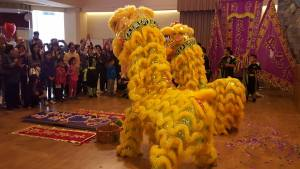 Lion Dancers in hall